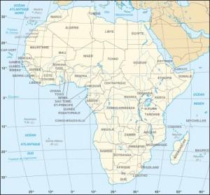 Carte de l'Afrique avec le nom des pays