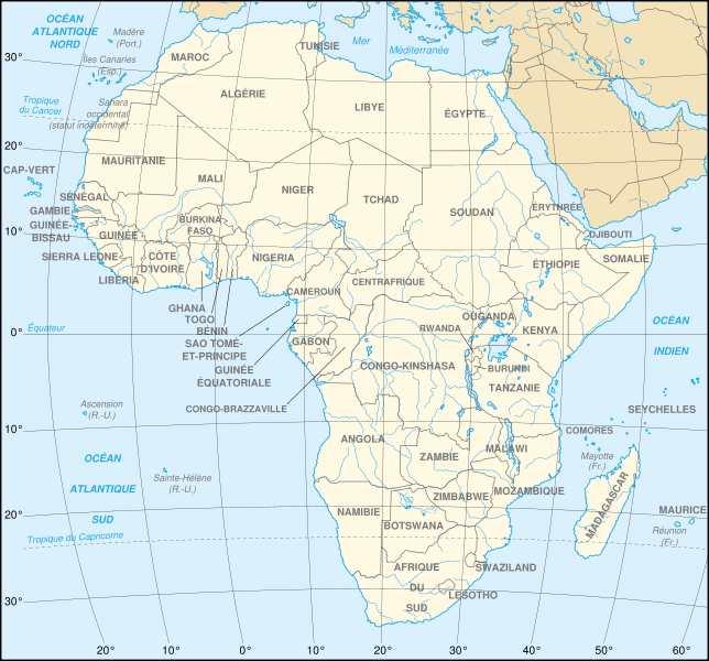 Carte Afrique Du Sud Ouest.Continent Africain Liste Des Pays D Afrique Regions Climat Cartes