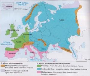carte du climat à travers l'Europe